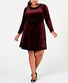 Betsey Johnson Plus Size Beaded-Collar Shift Dress