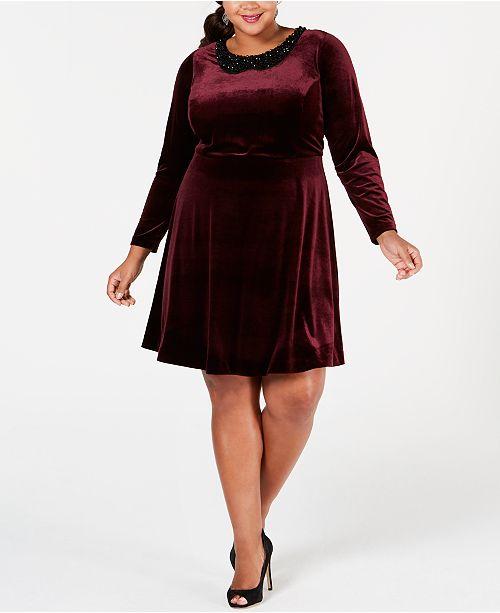 Betsey Johnson Plus Size Beaded-Collar Shift Dress