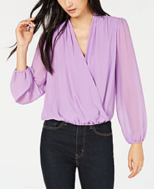 Bar III Surplice-Neck Chiffon Top, Created for Macy's