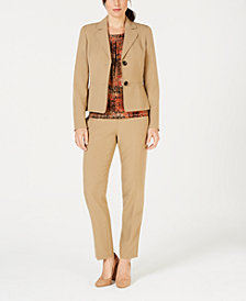 Kasper Two-Button Blazer, Printed Shell & Straight-Leg Pants