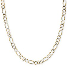 "Men's Two-Tone Figaro Link Chain 24"" Necklace in Sterling Silver & 14k Gold-Plate"