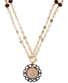 "lonna & lilly Gold-Tone Scallop Finish Coin 36"" Pendant Necklace"