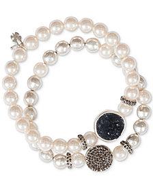 Lucky Brand Silver-Tone 2-Pc. Set Crystal & Stone Beaded Stretch Bracelets