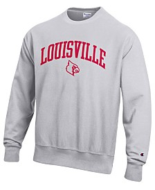 Champion Men's Louisville Cardinals Reverse Weave Crew Sweatshirt
