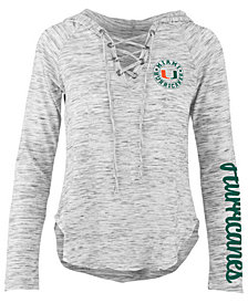 Pressbox Women's Miami Hurricanes Spacedye Lace Up Long Sleeve T-Shirt