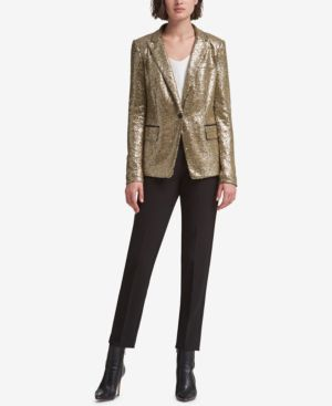 DKNY Sequined One-Button Blazer in Gold