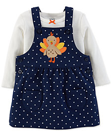 Carter's Baby Girls 2-Pc. Cotton Bodysuit & Turkey Jumper Set