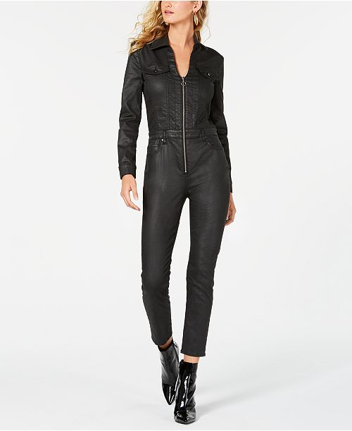 0cec7de7e06 GUESS Harrie Faux-Leather Zippered Jumpsuit   Reviews - Leggings ...