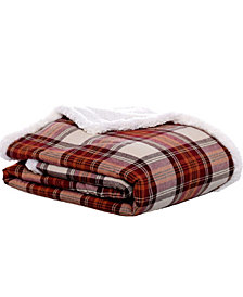 Eddie Bauer Flannel Sherpa Red Multi Throw