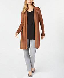 JM Collection Lace-Up Cardigan, Scoop-Neck Top & Curvy-Fit Pants, Created for Macy's