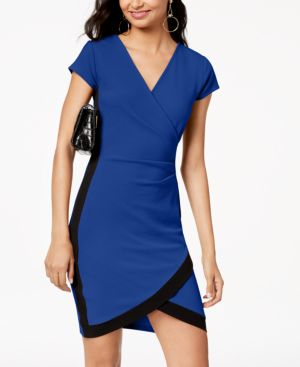 ALMOST FAMOUS Juniors' Framed Wrap Dress in Cobalt/Black