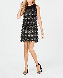 julia jordan Sleeveless Sequin-Fringe Sheath Dress