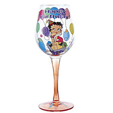 Kurt Adler 15 Oz. Happy Birthday Betty Boop Wine Glass
