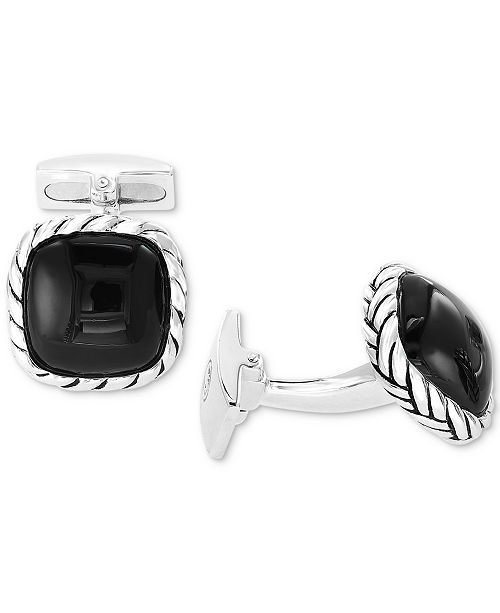 EFFY Collection EFFY® Men's Black Agate Cuff Links in Sterling Silver (Also in Tiger's Eye)