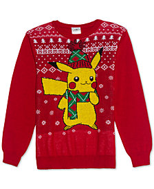 Pokemon Big Boys Pikachu Holiday Sweater