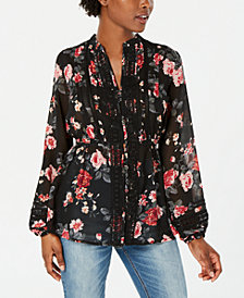 American Rag Juniors' Floral-Print Crochet-Trim Top, Created for Macy's
