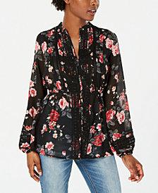 American Rag Juniors' Floral-Print Crochet-Trim Top, Created for Macy's