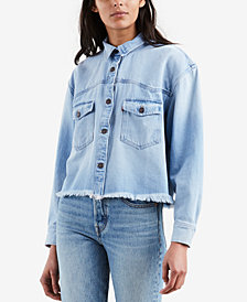 Levi's® Addison Cotton Cropped Denim Shirt