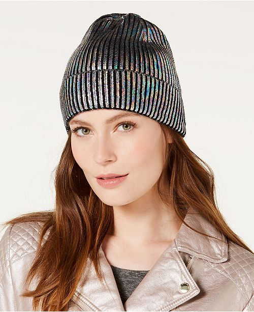 Steve Madden Metallic Cuff Beanie - Handbags   Accessories - Macy s f6f7cc307be