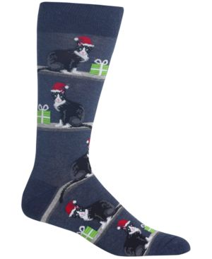HOT SOX Men'S Holiday Animal Crew Socks in Denim Heather Cats