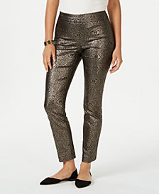 JM Collection Metallic Pull-On Pants, Created for Macy's