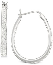 Crystal Oval Hoop Earrings in 18K Yellow Gold Over Silver or Sterling Silver