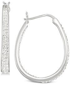 Simone I. Smith Crystal Oval Hoop Earrings in Sterling Silver