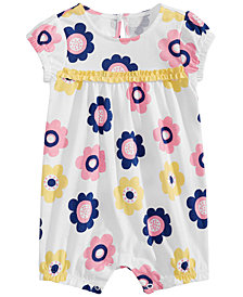 First Impressions Baby Girls Floral-Print Cotton Romper, Created for Macy's