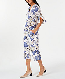 JM Collection Printed Statement-Sleeve Top & Capri Pants, Created for Macy's