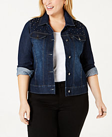 Charter Club Plus Size Studded Jean Jacket, Created for Macy's