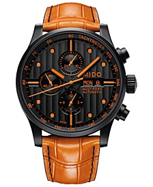 Men's Swiss Automatic Multifort Orange Leather & Interchangeable Black Leather Strap Watch 44mm