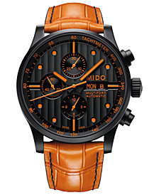 Mido Men's Swiss Automatic Multifort Orange Leather & Interchangeable Black Leather Strap Watch 44mm