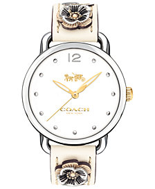 COACH Women's Delancey Chalk Leather Strap Watch 36mm