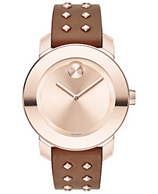 Movado Women's Swiss BOLD Cognac Leather Strap Watch 36mm