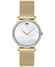 Women's Swiss Museum Classic Diamond (1/4 ct. t.w.) Gold-Tone PVD Stainless Steel Mesh Bracelet Watch 28mm
