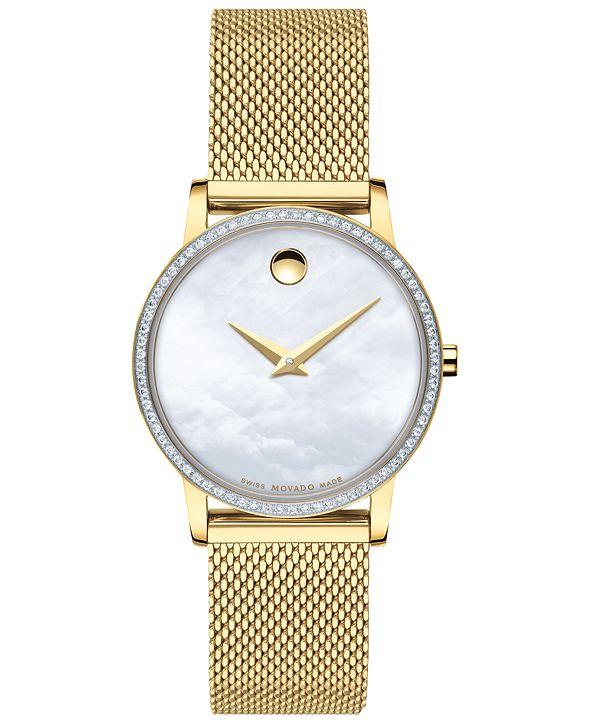 Movado Women's Swiss Museum Classic Diamond (1/4 ct. t.w.) Gold-Tone PVD Stainless Steel Mesh Bracelet Watch 28mm