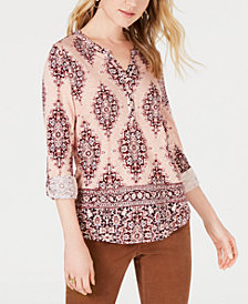 Style & Co Petite Printed Roll-Tab Sleeve Top, Created for Macy's
