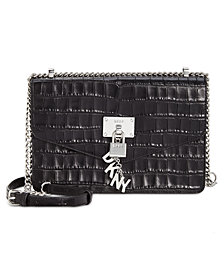 DKNY Elissa Croc Flap Shoulder Bag, Created for Macy's