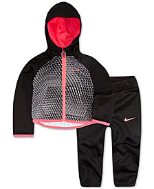 Nike Baby Girls 2-Pc. Colorblocked Therma Hoodie & Jogger Pants Set