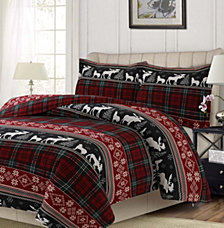 Holiday Plaid Printed Heavyweight Flannel Oversized Queen Duvet Set