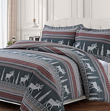Winter Reindeer Cotton Flannel Printed Oversized King Duvet Set