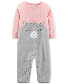 Carter's Baby Girls Dot-Print Cat Fleece Coverall