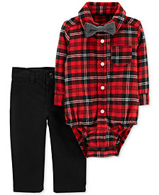 Carter's Baby Boys 3-Pc. Cotton Plaid Bodysuit, Bow Tie & Jeans Set