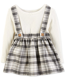 Carter's Baby Girls 2-Pc. Bodysuit & Plaid Suspender Skirt Set