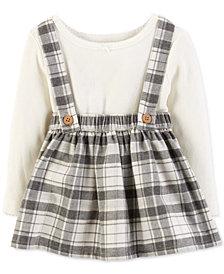 Carter's Baby Girls 2-Pc. Bodysuit & Plaid Suspender Skirt Set