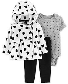 Carter's Baby Girls 3-Pc. Heart-Print Jacket, Dot-Print Bodysuit & Pants Set