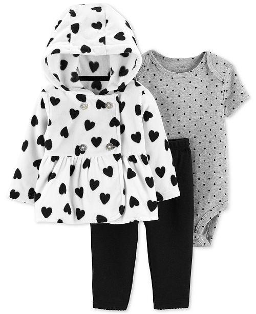65e29360791a Carter s Baby Girls 3-Pc. Heart-Print Jacket