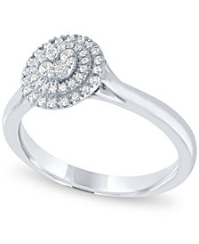 Diamond Halo Ring (1/4 ct. t.w.) in 14k White Gold