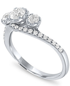 Diamond Three Stone Ring (3/4 ct. t.w.) in 14k White Gold