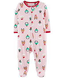 Carter's Baby Girls Holiday-Print Fleece Footed Coverall